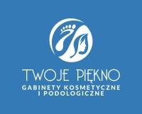 logo firmy Twoje Piękno z niebieskim tłem